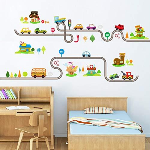 Schip trein auto vervoer Cartoon muur Stickers voor kinderen kamer decoratieve kinderen kinderkamer kamer Art Decals Muursticker