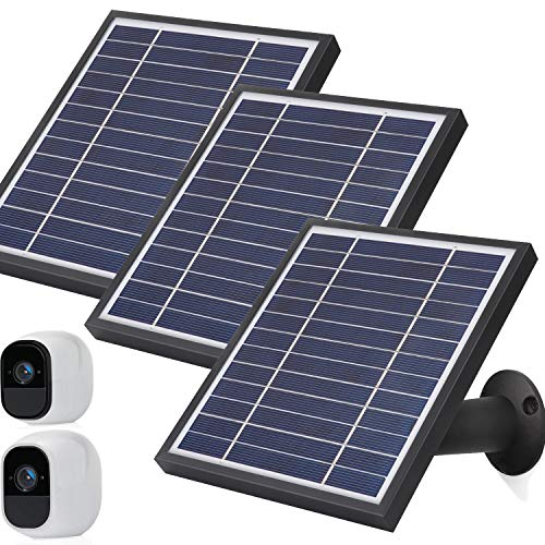 iTODOS Solar Panel Compatible with Arlo Pro and Arlo Pro 2, 11.8Ft Outdoor Power Charging Cable and Adjustable Mount,Not for Arlo Ultra and Pro3(3 Pack, Black)