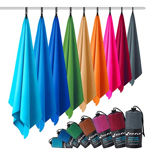 Fit-Flip Microfaser Handtuch – federleicht, Ultra saugstark und schnelltrocknend – (1x 120x60cm + 1x Tasche, Anthrazit Grau)