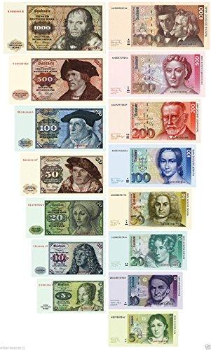 DM Geldscheine 1980,1991 von 5-1000 DM 2 Sätze Reproduktion TOP
