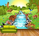 Qhrdp Mural Cartoon Animal World By River Fondos De Pantalla Personalizados...