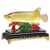 Wenmily Large Size Feng Shui Wealth Arowana (Golden Dragon Fish) Lucky Fish Statue Figurine, Office Living Room Decoration,Best Gift for Business Opening,Feng Shui Decor,9'(L) x 4'(W) x 8'(H)