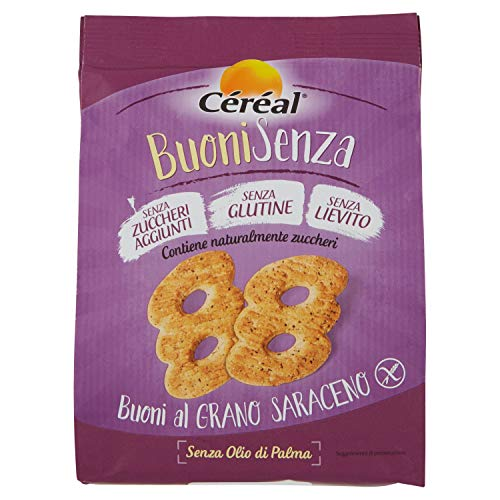 Céréal BuoniSenza Al Grano Saraceno, Biscotti Senza Glutine, Biscotti Senza Lievito, Senza Zuccheri aggiunti - 200g