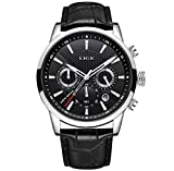 LIGE Montre Homme Quartz Analogique étanche Horloge Classique Bracelet en Cuir Noir 9866H