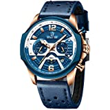 GOLDEN HOUR Men's Watches Quartz Analog Leather Chronograph Waterproof Sports Military Tactical Design Date, 24Hours, Multi Function Wrist Watch in Blue