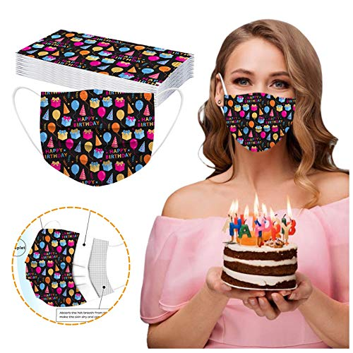 CawBing Birthday Gifts Disposablē_Face_Masks for Her Him 20PCS Happy Birthday Printed Decorations Balaclava 3-ply Comfort Breathable Face_Coverings with Elastic Earloop Protection Bandana
