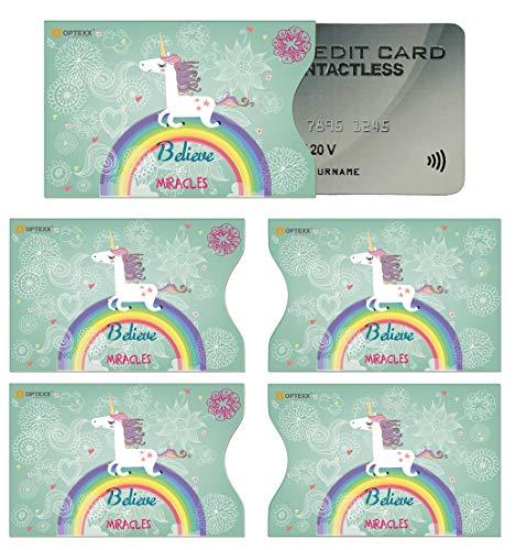 OPTEXX 5x RFID Schutzhülle TÜV geprüft für Kreditkarte Hülle Karten RFID Blocker (Einhorn)