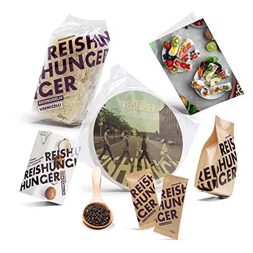 Reishunger Sommerrollen Box für 4 Pers. (auch für 12 & 24 Pers. erhältlich) mit Reispapier, Reisnudeln, Milchreis, Kokosmilch und Gewürzen, inkl. Rezeptkarte - Ideal auch als Geschenk