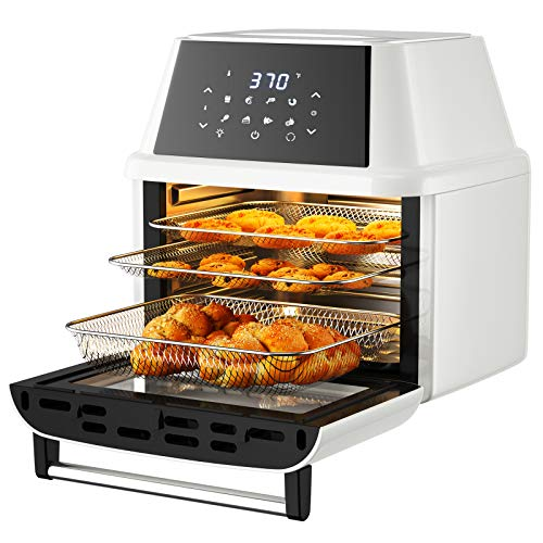 COSTWAY 8-in-1 Air Fryer Oven, Multifunctional Programmable 19QT Cooking Oven with 10 Accessories, Rotisserie, 8 Pre-set Recipe, LED Digital Touchscreen, Viewing Window, 1800W (White)