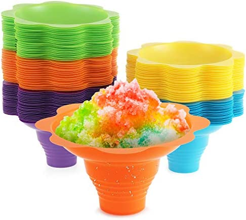 Snow cone cups 25 Pack Flower Design Slush cup 5 Assorted Summer Colors Sno Cone Cup 4 oz Great product image