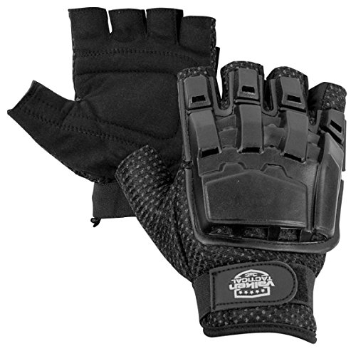 Valken Half Finger Plastic Back Gloves, Black, Medium/Large