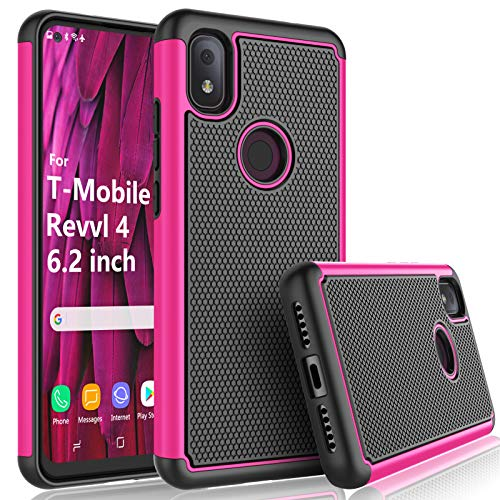T-Mobile Revvl 4 Case, 2020 TCL Revvl 4 Case for Girls, Tekcoo [Tmajor] Shock Absorbing [Rose] Rubber Silicone & Plastic Scratch Resistant Bumper Grip Rugged Cute Sturdy Hard Phone Cases Cover