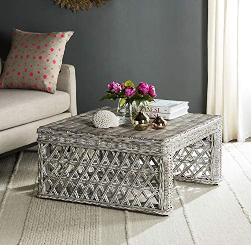 Best Safavieh Home Collection Hila White Wash Wicker Coffee Table