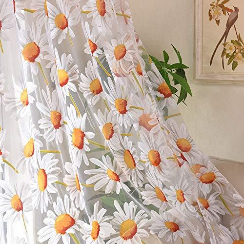 ERYUEL Sun Flower Tul Cortinas for la Sala de Estar Dormitorio Cocina de Flores Amarillo Voile Cortinas Transparentes for el Tratamiento de Ventana Cortinas Tulle Ventana