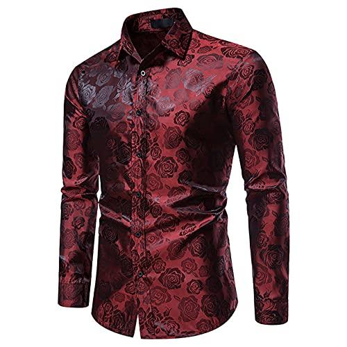 PANGF Camisa de manga larga para hombre con estampado de rosas. Camisa básica para el tiempo libre., vino 04, L