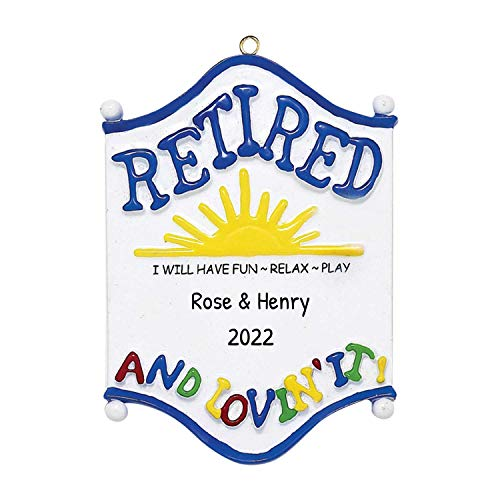 Personalized Retired Christmas Tree Ornament 2019 - Fun Sign Sun-Shine Love Relax Play Enjoy Grand-Dad Grand-Father Early Retirement Coworker Humor Bye Forever Away Summer South - Free Customization