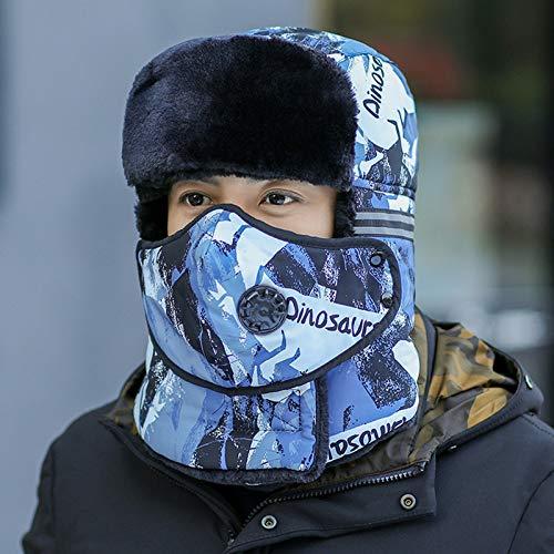 Bombermütze,Winter Unisex Sowjetische Bomber Reflektierenden Streifen Blau...
