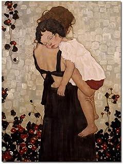 HHLSS Impresiones para Paredes 60x80cm sin Marco Gustav Klimt Cartel e Impresiones Una Madre sosteniendo a un niño Pintura...