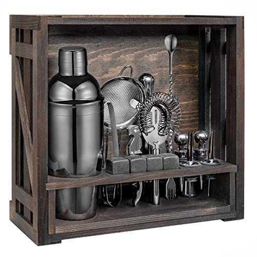 18 Piece Cocktail Shaker Set with Rustic Pine Stand,Stainless Steel Bartender Kit Bar Tools Set for Christmas Gift,Home, Bars, Parties...