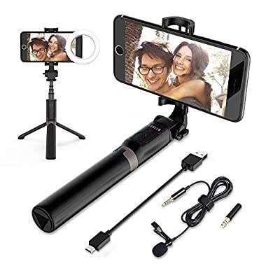 ELEWIUM 3 in 1 Bluetooth Tripod Selfie Stick with LED Ring Light & Rec Microphone| Adjustable Knob Live Stream, 360° Rotation & Soft Silicone Pads| Works with iPhones Smartphones&Tablets