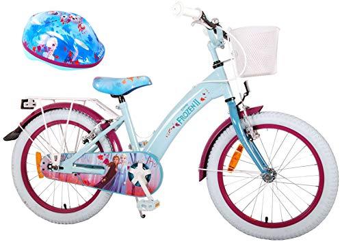 Kinderfahrrad Disney Frozen II - Die Eiskönigin 2 18 Zoll | 2 Felgenbremsen Korb Gepäckträger Fahrradklingel + Fahrradhelm Gr. 51-55 cm