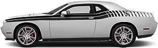 FactoryCrafts Dodge Challenger 2011-2018 Gradient Stripe Graphics Kit 3M Vinyl Decal Wrap - Matte Black