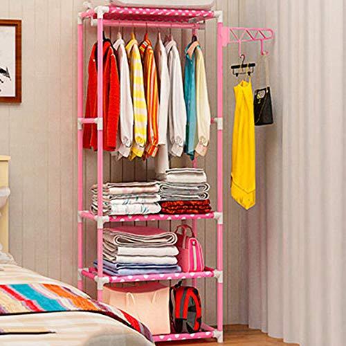 XYBB Armario Dormitorio Casa Piso Abrigo Dormitorio Moderno Metal Plegable Ropaacente Muebles De La Sala De Estar Simple 170 * 55 * 35cm 2