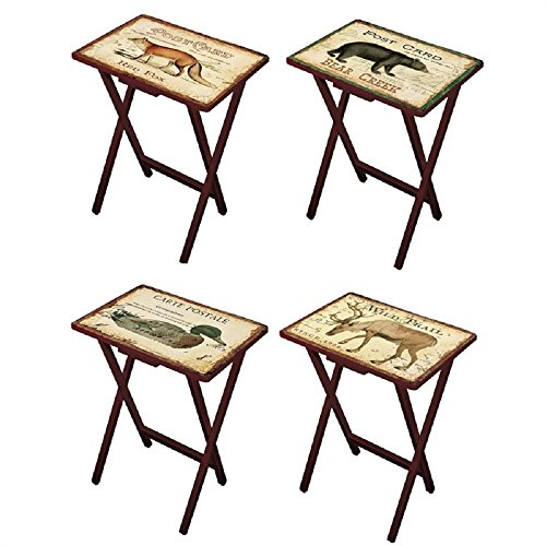 """Cape Craftsmen Lodge Postcards Wooden Folding TV Tray Set with Stand, Set of 4 - Tray: 19.5"""" W x 14.5"""" D x 25.5"""" H. Stand: 19"""" W x 14"""" D x 32"""" H"""