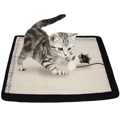 EONAZE Sisal Katzenkratzmatte Katzenkratzbrett,Langlebige Rutschhemmende Katzen Kratzbrett Kratzschutz Sofa,Kratzteppich für Katzen,Krallenpflege Sisalteppich für Wand & Boden (40 * 29cm, A)