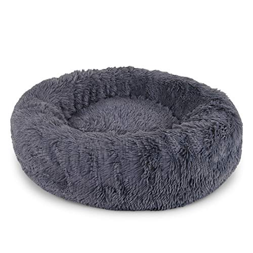 lionto by dibea Cama perros redonda cojín gatos sofá para perros donut (S) Ø 40 cm Gris oscuro