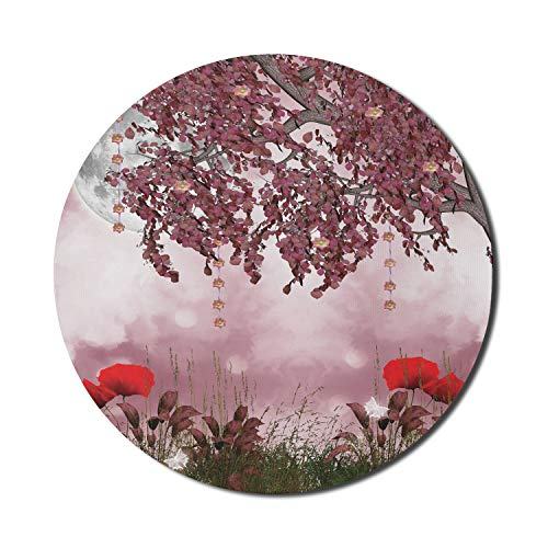 Ambesonne Poppy Flower Mouse Pad for Computers, Dream Garden with Poppies Full Moon Floral Tree Branches Fairy Tale Paradise, Round Non-Slip Thick Rubber Modern Gaming Mousepad, 8' x 8', Mauve Red