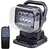 50W LED Spotlight LED Search Light 360 Degree LED Rotating Remote Control Work Light with Magnetic Base for SUV Boat Home Security Protection Emergency Lighting Farm Field Garden
