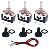 TWTADE 3 Pcs Toggle Switches 3 Pin 3 Position ON/Off/ON SPDT Heavy Duty Rocker Toggle Switch 16A 250VAC Spade Terminal Metal Bat Switch with Waterproof Boot Cap and 6.3mm Terminal Wires TEN-1122MZX