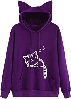 Women's Hoodies Sweatshirts Long Sleeve Kangaroo Print Cute Cat Ear Pullover Hooded Sweatshirt Top Outwear for Teen Girl