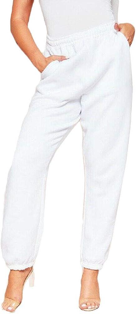 Women Ladies Sweatpants Pockets Elastic High Waist Cinch Dance Athletic Jogger Pants Casual Baggy Trousers