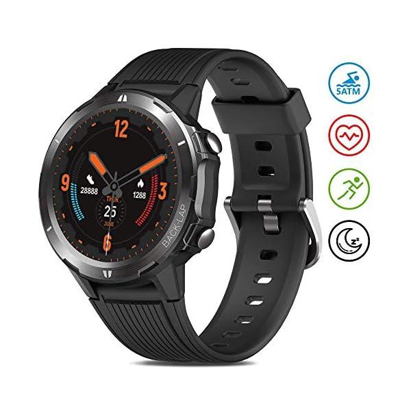 Reloj Inteligente Hombre Mujer, GRDE Smartwatch Redondo 12 Modo Deportivo con (Monitor de Ritmo Cardíaco/Sueño/Calorías… 1
