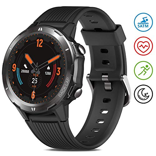 GRDE Smartwatch 5ATM Wasserdicht Fitness Tracker 1.3 Zoll Touchscreen Armbanduhr Aktivitätstracker mit Herzfrequenz Schlafmonitor Schrittzähler Wettervorhersage für Damen Herren Kompatibel Android iOS