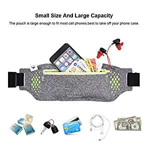 Triomph Running Belt, Running Fanny Pack for Hiking, Water Resistant Runners, Adjustable Belt for iPhone Xs Max, XR and Any Large Smartphone, 3 Pockets w/Reflective Zippers, Earphone Hole