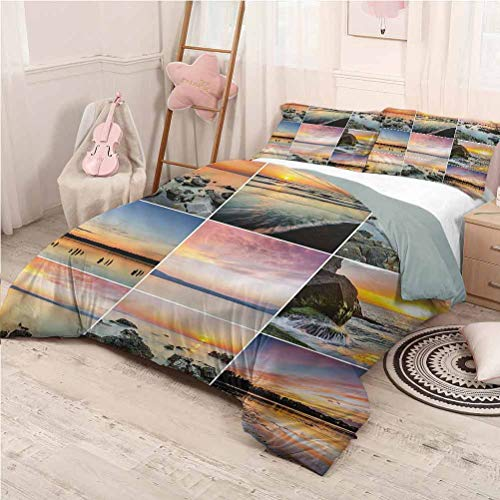 Landscape Bedding 3-Piece Full Bed Sheets Set, Microfiber Sheet Set 3 Piece Bed Sheets Ocean at Sea Sunset Dorm Bedding - Full 80'x90'