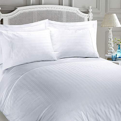Juego de funda nórdica para cama, satén 100% algodón egipcio con rayas, algodón egípcio, Blanco, Doublé