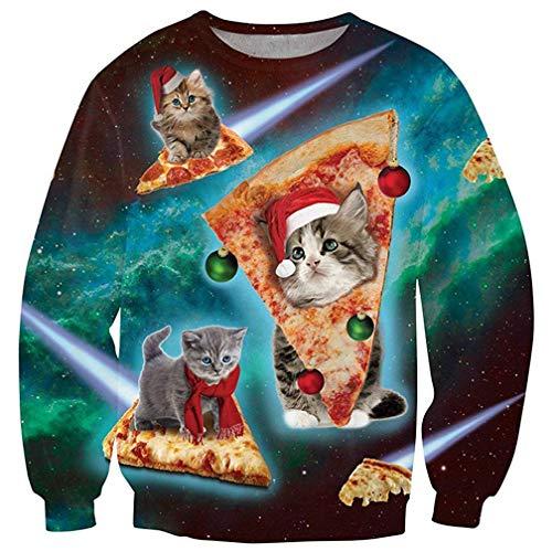 Fanient Weihnachts Pullover Damen 3D Bedruckt Katzen Pizza Muster Neuheit Ugly Christmas Pullover L