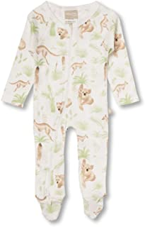 Babyushka Organic Australiana Collection Front Zip Forest AOP Romper, 0