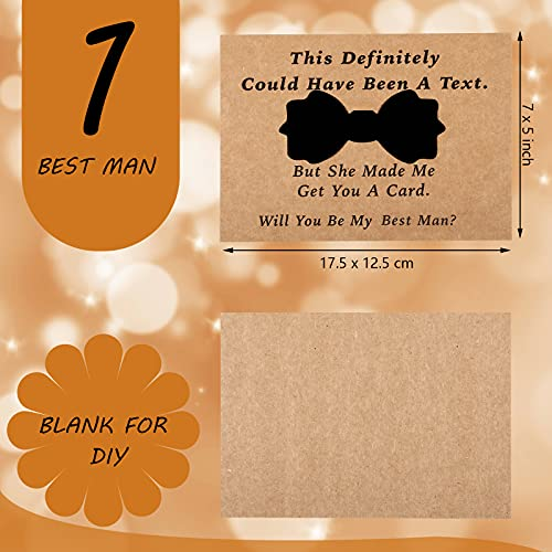 8 Pieces Groomsmen Proposal Cards with Tie and Envelope, 7 Will You Be My Groomsman Cards and 1 Will You Be My Best Man Asking Card Invitation Funny Groomsman Cards for Wedding, 7 x 5 Inch Photo #4