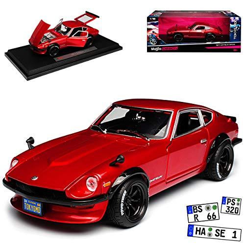Maisto Datsun Nissan 240Z Fairlady Z Coupe Tuning Rot 1969-1978 1/18 Modell Auto mit individiuellem Wunschkennzeichen
