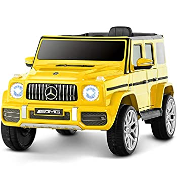 Uenjoy 12V Licensed Mercedes-Benz G63 Kids Ride On Car Electric Cars Motorized Vehicles for Girls,Boys with Remote Control Music Horn Spring Suspension Safety Lock LED Light,AUX Yellow