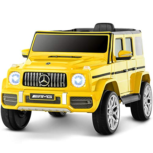 Uenjoy 12V Licensed Mercedes-Benz G63 Kids Ride On Car Electric Cars Motorized Vehicles for Girls,Boys, with Remote Control, Music, Horn, Spring Suspension, Safety Lock, LED Light,AUX, Yellow