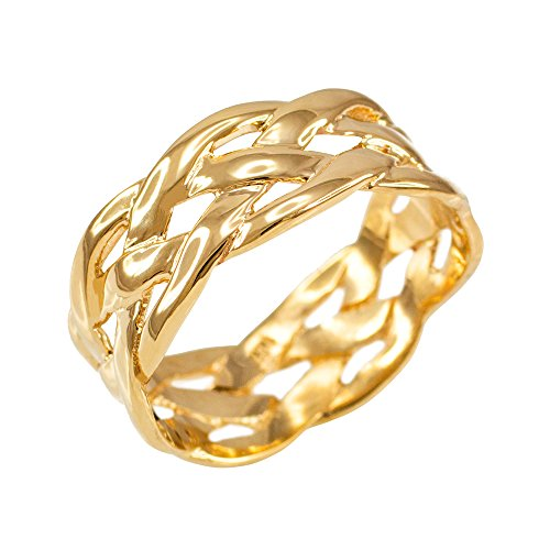 Celtic Weave Wedding Band in Polished 10k Yellow Gold (Size 6.25)