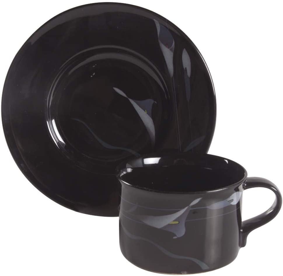 Mikasa Opus-Black Flat Set Cup Jacksonville Mall Saucer Genuine Free Shipping