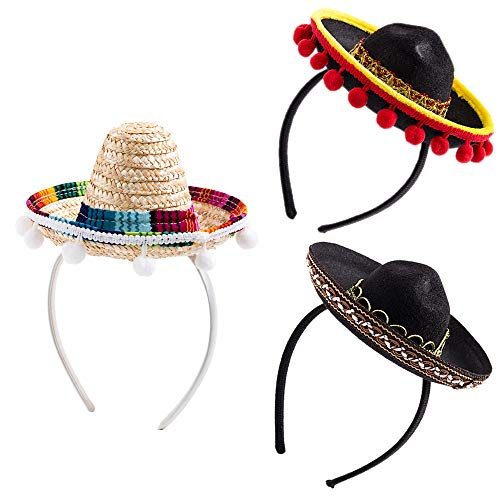 Lowest Prices! 3Pcs Cinco De Mayo Sombrero Headband, Fiesta Sombrero Party Hats with Ball Fringe Dec...