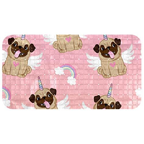 henghenghaha Alfombrilla de baño antideslizante para bañera, accesorios de baño con ventosas y orificios de drenaje, 35.7 x 60.9 cm, diseño de alas de unicornio